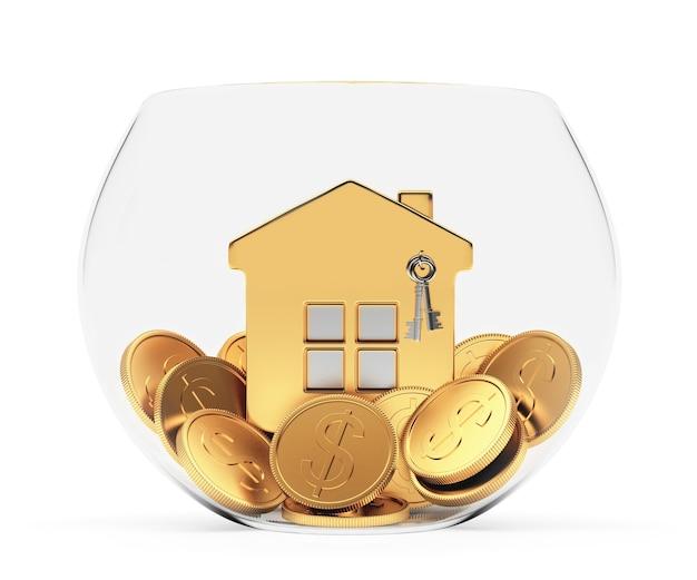 Gouden huis op munten in een transparante kom