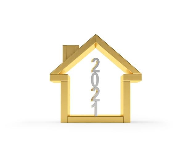 Gouden huisje met nummer 2021 binnen