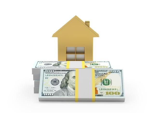 Gouden huisje op dollarbiljetten 3d