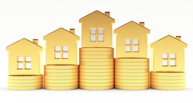 Gouden huizen op stapels munten