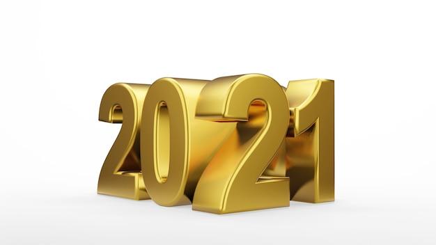 Gouden inscriptie 2021 geïsoleerd op een witte achtergrond. gelukkig nieuwjaar 2021. illustratie voor reclame. 3d-weergave.