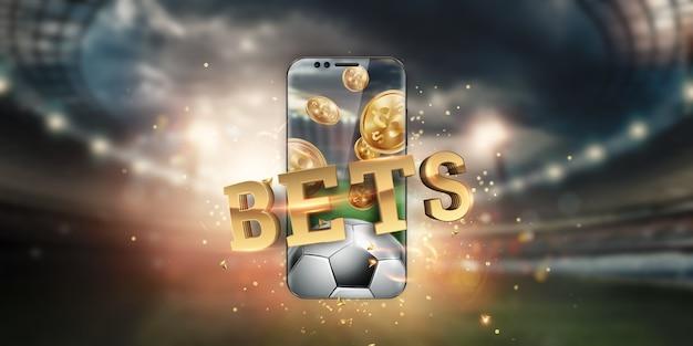 Gouden inscriptiesportweddenschappen op een smartphone op de achtergrond van het stadion.