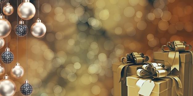 Gouden kerstmisbal giftdoos en partij bokeh achtergrond