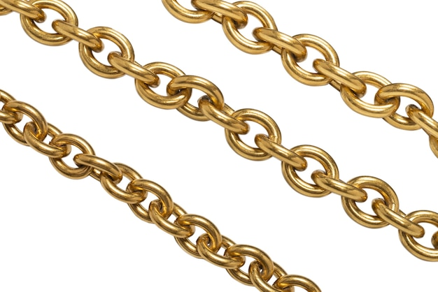 Gouden ketting geïsoleerd op wit oppervlak