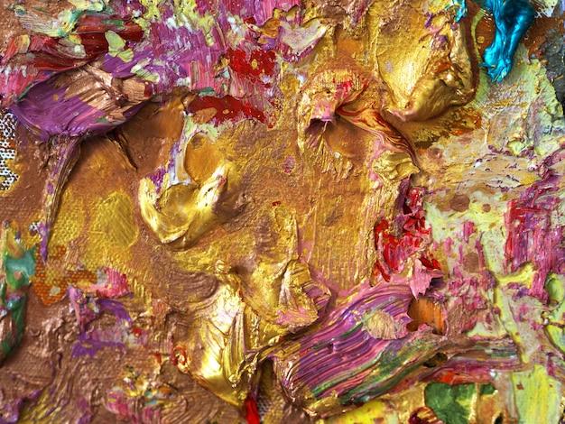 Gouden kleurrijke de textuur abstracte achtergrond van het kleurenolieverfschilderij.