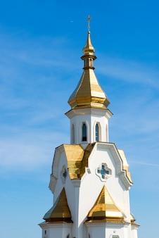 Gouden koepels van de kerk tegen de hemel.