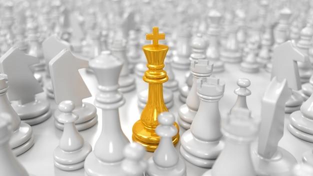 Gouden koning staat onder verschillende witte schaakstukken in 3d illustratie