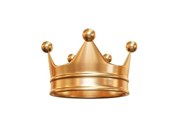 Gouden koninklijke koningskroon die op wit wordt geïsoleerd