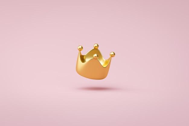 Gouden kroon op roze achtergrond met overwinning of succesconcept. luxe prinsenkroon voor decoratie. 3d-weergave.