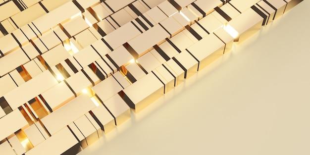 Gouden kubus achtergrond abstracte gouden reflecterende geometrische 3d illustratie
