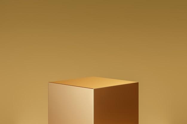 Gouden kubusproduct achtergrondstandaard of podiumvoetstuk op gouden display met luxe achtergronden. 3d-weergave.