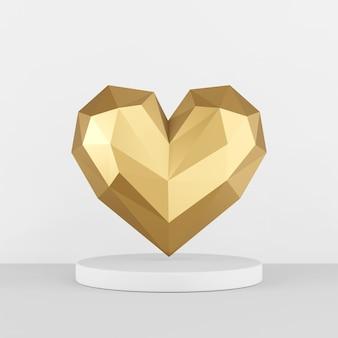 Gouden laag poly hart pictogram op een witte sokkel. 3d-weergave,