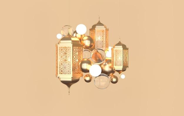 Gouden lantaarn met kaars, lamp met arabische decoratie, arabesk design