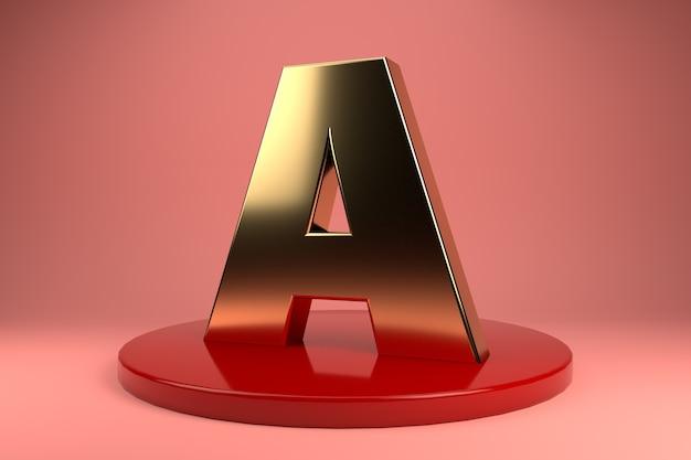 Gouden letter a hoofdletters op standaard