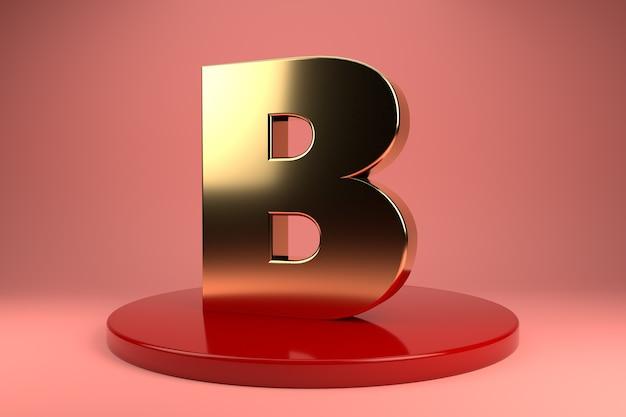 Gouden letter b hoofdletters op standaard