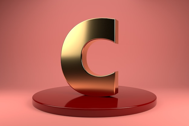 Gouden letter c hoofdletters op standaard