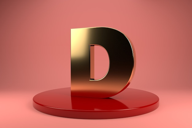 Gouden letter d hoofdletters op standaard