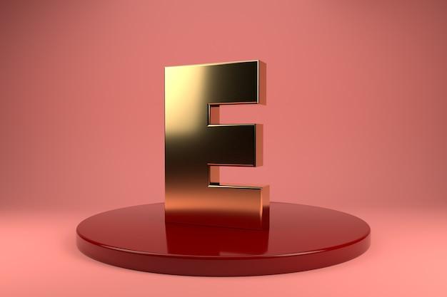 Gouden letter e hoofdletters op standaard