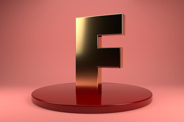 Gouden letter f hoofdletters op standaard