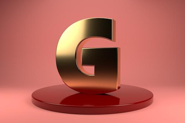Gouden letter g hoofdletters op standaard