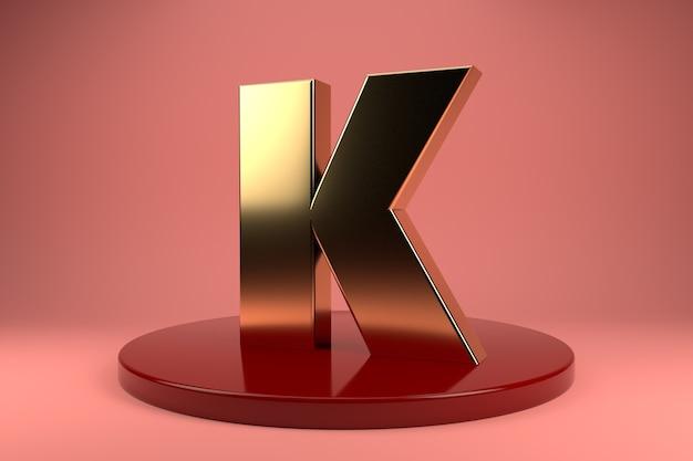 Gouden letter k hoofdletters op standaard