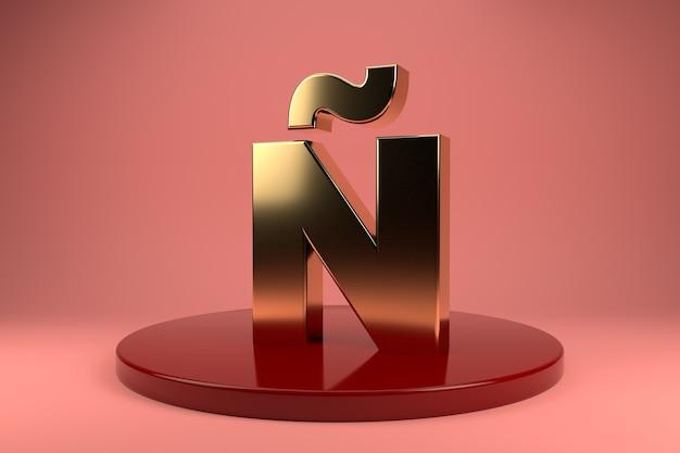 Gouden letter n hoofdletters op standaard