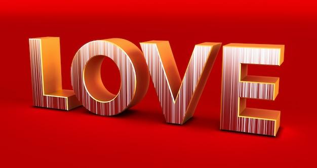 Gouden liefde typografie op rode achtergrond, valentijnsdag, 3d-rendering