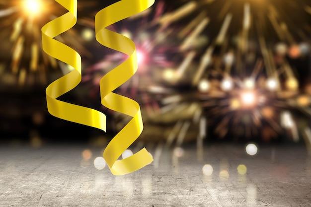 Gouden lint met kleurrijke vuurwerkachtergrond