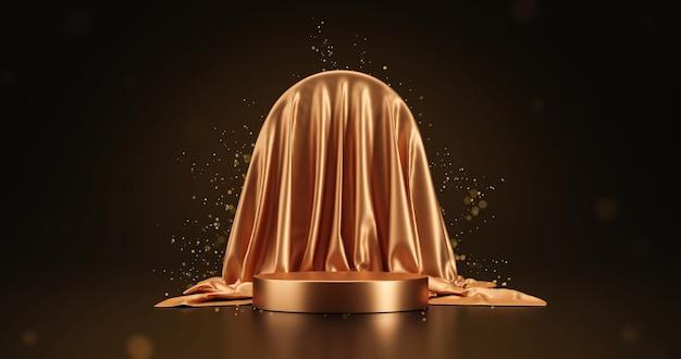Gouden luxe stof product display of elegantie podium voetstuk op schoonheid gouden glitter achtergrond met abstracte presentatie achtergronden podium en showcase sjabloon. 3d-weergave.