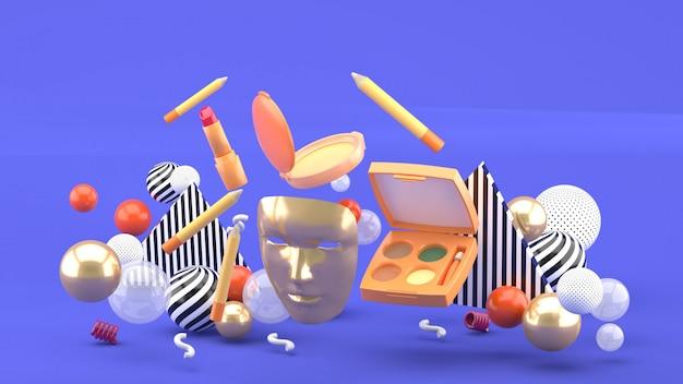 Gouden maskers en zwevende cosmetica onder kleurrijke ballen op paars. 3d-weergave.