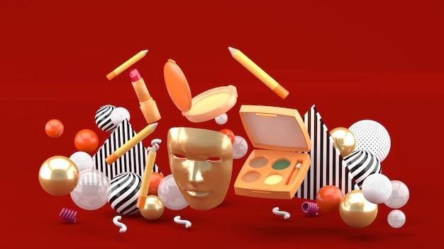Gouden maskers en zwevende cosmetica onder kleurrijke ballen op rood. 3d-weergave.
