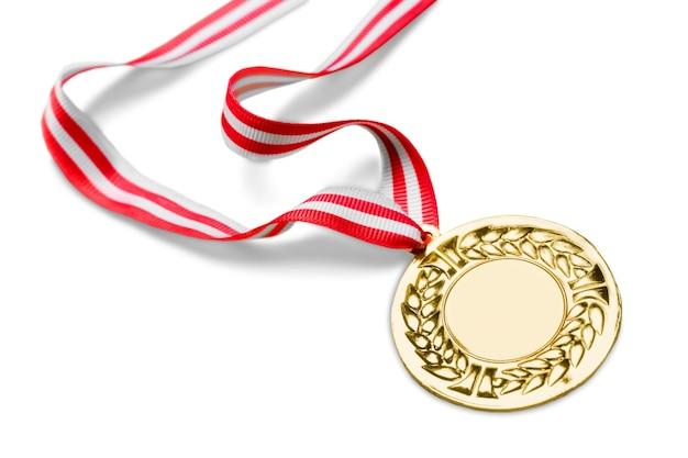 Gouden medaille met lint op achtergrond