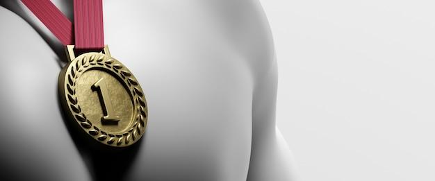 Gouden medaille op de borst. 3d render