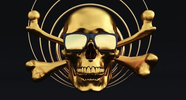 Gouden menselijke schedels en gekruiste knekels met zonnebril op rook achtergrond, 3d render,