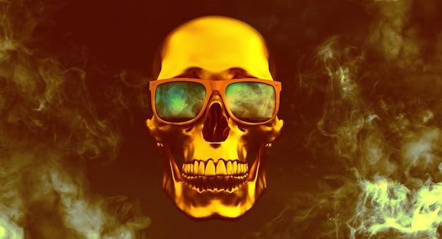 Gouden menselijke schedels met zonnebril op rook achtergrond, 3d render