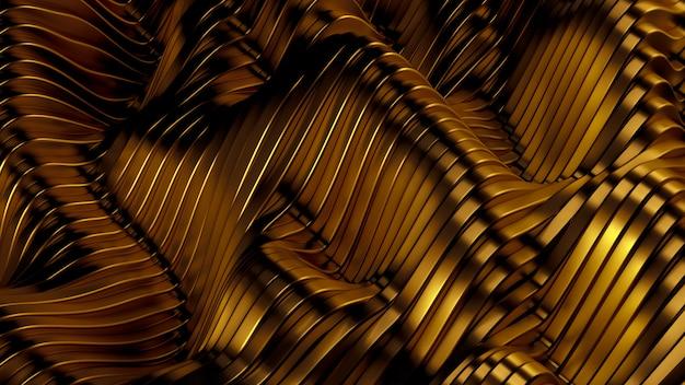 Gouden metalen achtergrond met golven en lijnen. 3d-weergave.
