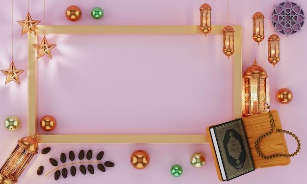 Gouden metalen halve maan en sterren roze