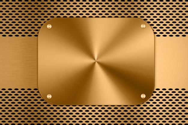Gouden metalen plaat op metalen schermachtergrond