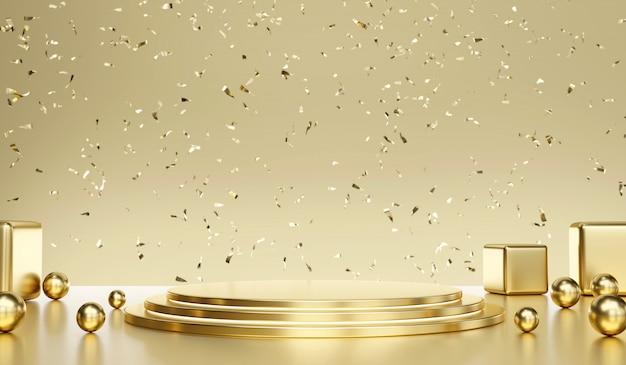 Gouden metalen standaardsjabloon met confetti voor productreclame en commerciële, 3d-rendering.