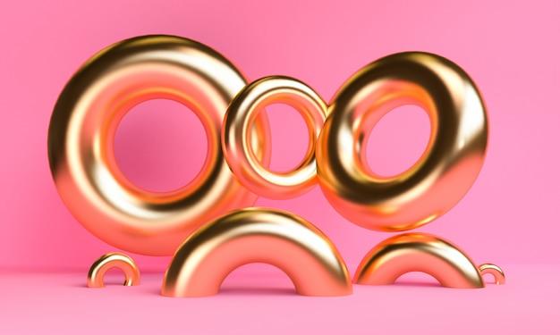 Gouden minimalistische abstracte achtergrond, primitieve geometrische figuren, pastel kleuren, 3d renderen.