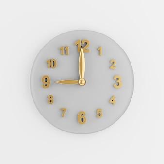 Gouden moderne muur klokpictogram. 3d-rendering grijze ronde sleutelknop, interface ui ux-element.