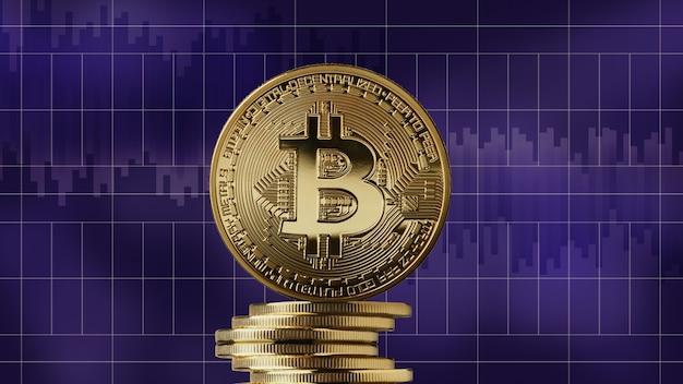 Gouden munt bitcoin en een stapel crypto valuta op een moderne ultraviolette markt grafieken achtergrond. cryptocurrency en blockchain-handelsconcept. kan worden gebruikt voor video- of siteomslag