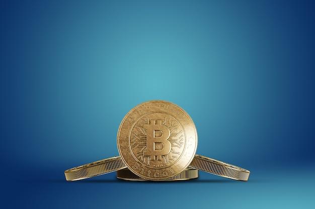 Gouden munt bitcoin op een blauw