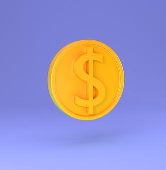 Gouden munt met dollarteken minimale cartoon 3d render illustratie