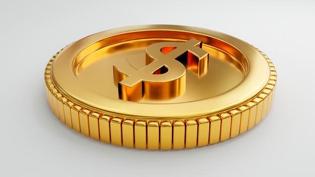 Gouden munt met ons dollarteken op geïsoleerde witte muur. economisch geld en bedrijfsinvesteringenconcept