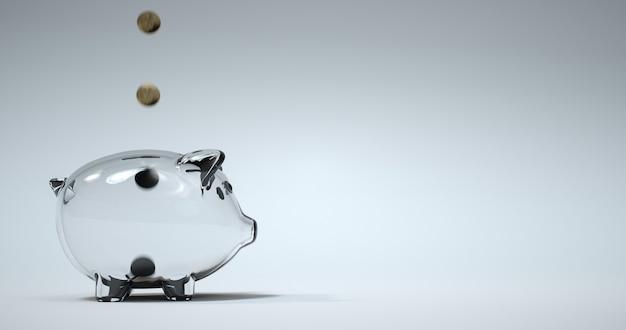 Gouden munt vullen glazen spaarpot. 3d-rendering.