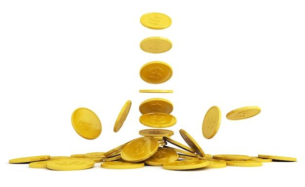 Gouden munten 3d-weergave op een witte achtergrond