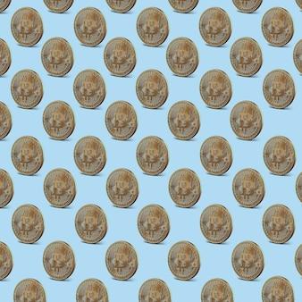 Gouden munten bitcoin, naadloos patroon