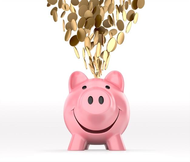 Gouden munten die in spaarvarken, vooraanzicht vallen. 3d-weergave