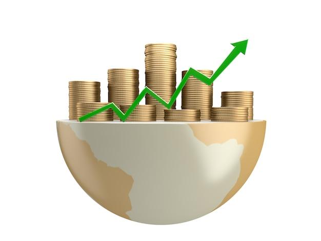 Gouden munten en groene pijl op de bovenste bol. 3d-rendering